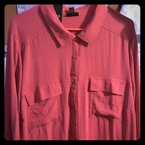 Long Sleeve Dark Coral Button Up Blouse Size 3XL